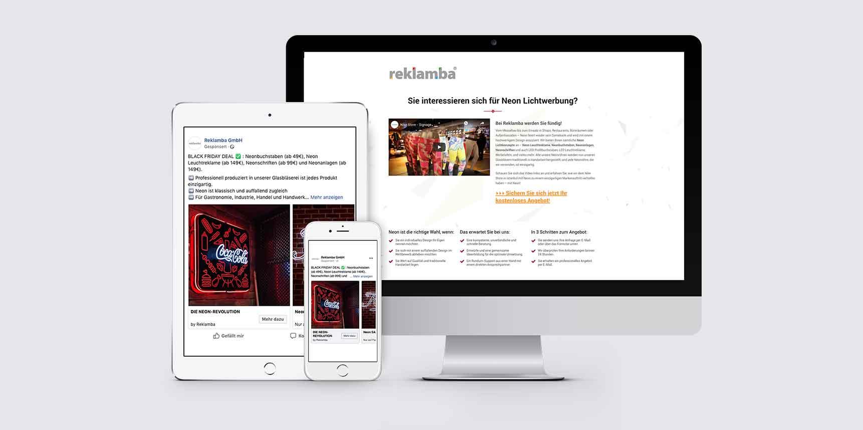 Website der Reklamba GmbH auf einem iPad, iPhone und iMac