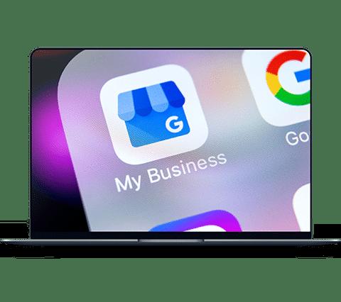 MacBook Pro Mockup mit Google My Business Icon