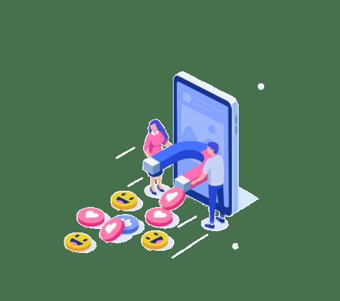 Social Media Bild mit Magnet und Emojis