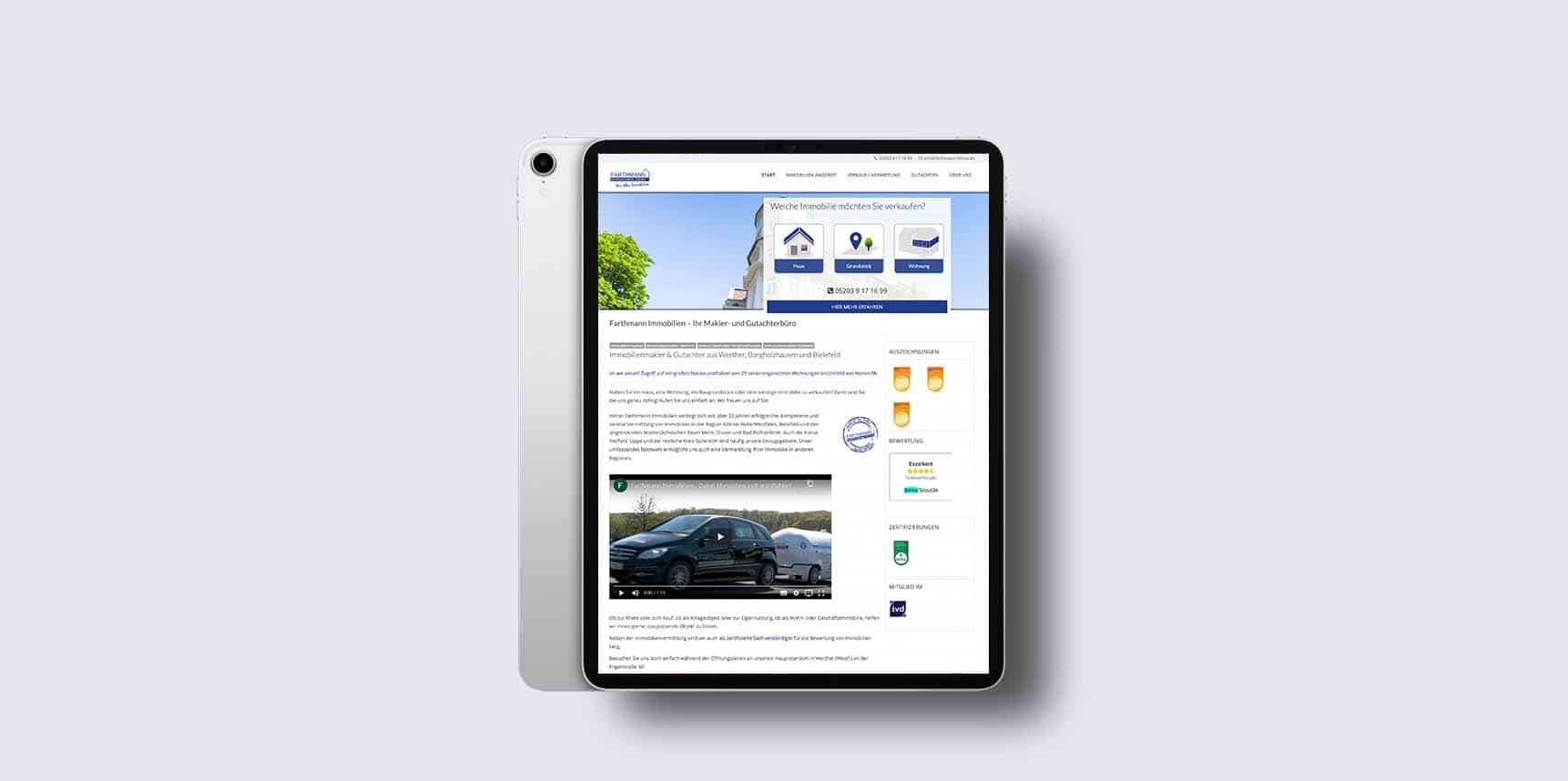 iPad Pro Mockup von Farthmann Immobilien