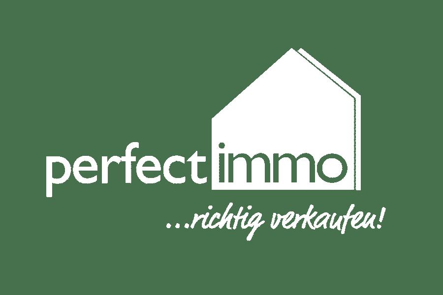 Logo von perfect immo in weisser Farbe