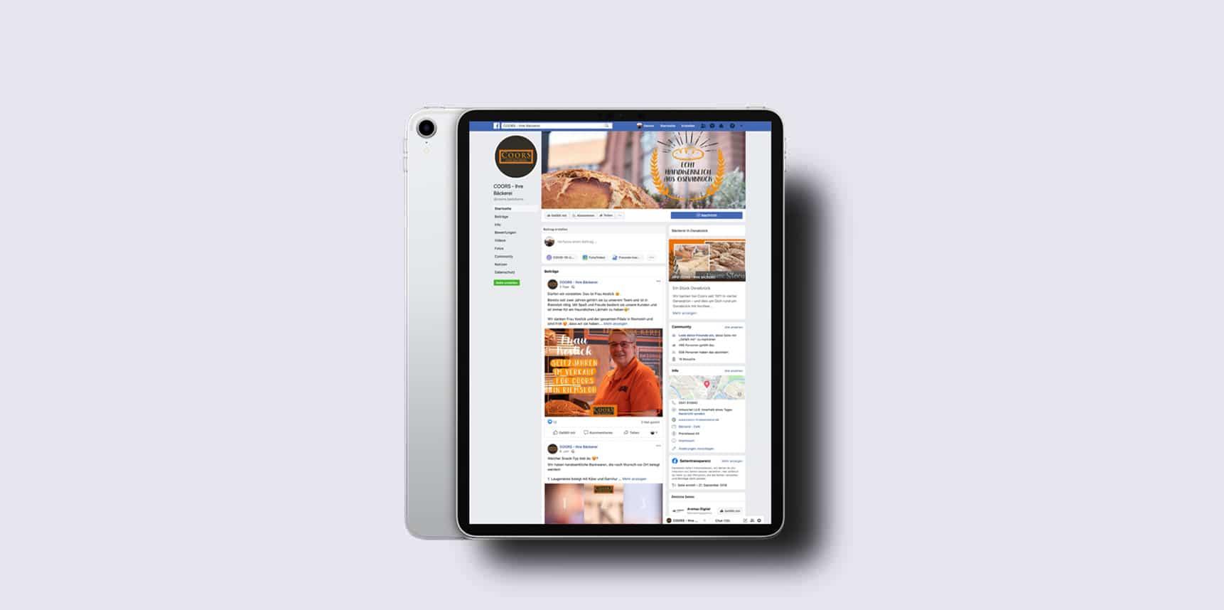 iPad Pro Mockup mit Facebookseite der Bäckerei Coors aus Osnabrück